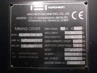 Lathe machine Hwacheon Hi Tech 700 MC-8